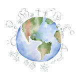 Watercolor Illustration -- green planet Royalty Free Stock Photos
