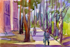 Watercolor Illustration of a green street, houses and pedestrians Stock Images