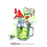 Watercolor illustration. Halloween holidays card. Hand painted glass cup with potion, amanitas and flies. Funny coctail. Poisonous drink. Magic, symbol of Stock Photo