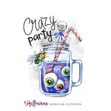 Watercolor illustration. Halloween holidays card. Hand painted glass cup with a potion, human eyes and flies. Funny. Coctail. Poisonous drink. Magic, symbol of Stock Images