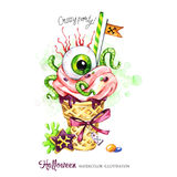 Watercolor illustration. Halloween holidays card. Hand painted waffle cone, human eye with cream and worms. Funny ice Stock Photos