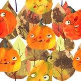Watercolor illustration, halloween pattern Royalty Free Stock Photo