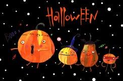 Watercolor illustration, halloween pumpkins Stock Photo