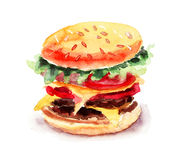 Watercolor illustration of Hamburger. Watercolor illustration of big Hamburger Royalty Free Stock Photos