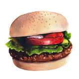 Watercolor illustration of hamburger Stock Images