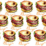 Watercolor illustration of Hamburger Royalty Free Stock Photo