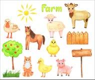 Watercolor illustration. Hand drawn farm animals set: cow,horse, pig.