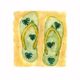 Watercolor illustration,hand drawn green flat slippers shoes,flip flop sandals with monstera leaves on the yellow sand background. vector illustration