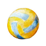 Watercolor illustration, hand drawn volleyball ball isolated object on white. Royalty Free Stock Images