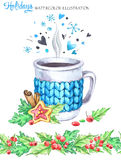 Watercolor illustration. Hand painted cup of hot drink with knitted case, rowan and leaves. Seamless floral border royalty free illustration