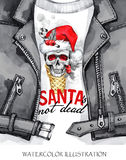 Watercolor illustration. Hand painted leather jacket with skull in Santa hat. Words Santa is not dead. Rock style girl. Watercolor illustration. Winter holidays Royalty Free Stock Image