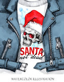 Watercolor illustration. Hand painted leather jacket with skull in Santa hat. Words Santa is not dead. Rock style girl. Watercolor illustration. Winter holidays Royalty Free Stock Images