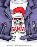 Watercolor illustration. Hand painted leather jacket with skull in Santa hat. Words Santa is not dead. Rock style girl. Watercolor illustration. Winter holidays Stock Photos