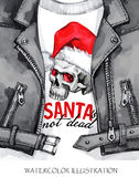 Watercolor illustration. Hand painted leather jacket with skull in Santa hat. Words Santa is not dead. Rock style girl. Watercolor illustration. Winter holidays Stock Image