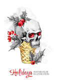 Watercolor illustration. Hand painted waffle cone with skull. Funny ice cream dessert. Christmas, New Year symbol. Stock Photos
