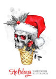 Watercolor illustration. Hand painted waffle cone with skull in Santa hat. Funny ice cream dessert. Christmas, New Year Stock Photos