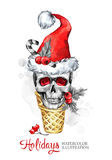 Watercolor illustration. Hand painted waffle cone with skull in Santa hat. Funny ice cream dessert. Christmas, New Year Royalty Free Stock Images