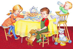 Watercolor illustration. Happy children at the holiday table Royalty Free Stock Photography