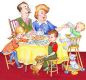 Watercolor illustration. Happy family for a festive tea. Watercolor illustration in retro style isolated on white background. Happy large family for a festive Royalty Free Stock Photos