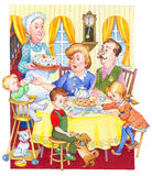 Watercolor illustration. Happy family for a festive tea. Watercolor illustration in retro style isolated on white background. Happy large family for a festive Stock Photos