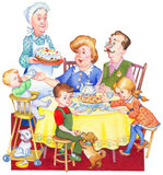 Watercolor illustration. Happy family for a festive tea. Watercolor illustration in retro style isolated on white background. Happy large family at the table for Stock Images