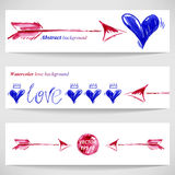 Watercolor illustration with heart and arrow. Vector Stock Photos