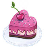 Watercolor Illustration of heart shaped dessert. Royalty Free Stock Photo