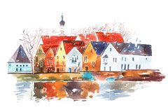 Watercolor illustration of houses with traditional European architectural features. royalty free illustration
