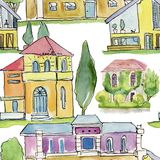 Watercolor illustration. Houses and trees. Seamless backround. Stock Images