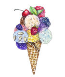 Watercolor illustration of an ice-cream cone Royalty Free Stock Photo