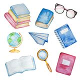 Watercolor illustration isolated school supplies