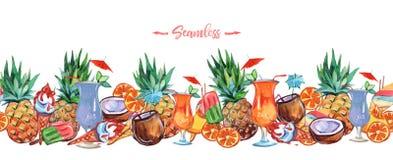 Watercolor illustration.  seamless header. Seamless border. Design banner element. Tropical pattern. royalty free illustration