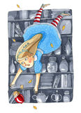 Watercolor illustration isolated on white background. Fairy tale. About Alice in Wonderland. The girl in blue dress falls into a deep pantry Royalty Free Stock Images