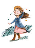Watercolor illustration. The girl with hat in coat go for a walk Royalty Free Stock Images