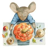Little gray mouse in blue jacket sits an the table royalty free illustration