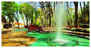 Watercolor illustration istanbul park Royalty Free Stock Images
