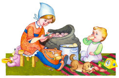 Watercolor illustration. Kids in kitchen preparing meal Stock Photos