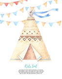 Watercolor illustration - Kids tent with garlands. Baby shower p Stock Photography