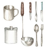Watercolor illustration of kitchen object. On white background Stock Image