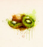 Watercolor illustration of kiwi fruit Stock Images