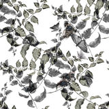 Watercolor illustration leaf,butterfly, seamless pattern on white background Royalty Free Stock Photo