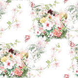Watercolor illustration of leaf and flowers, seamless pattern Stock Photo