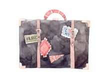 Watercolor illustration - Let`s go travel. Fashion suitcase with Royalty Free Stock Photography
