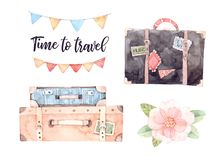Watercolor illustration - Let`s go travel. Fashion suitcases wit Royalty Free Stock Photo