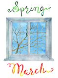 March concept. Window and spring tree branch against blue texture sky. Watercolor illustration, lettering of month and season for calendar design page stock illustration