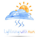 Watercolor illustration of lightning with the sun. Vector Vector Illustration