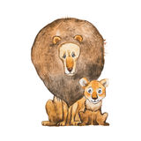 Watercolor illustration of lion and the cub sitting together looking at each other. Idea for father s day card. Royalty Free Stock Photos