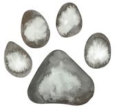 Watercolor illustration of lion paw print in grey colors isolated on white background stock illustration