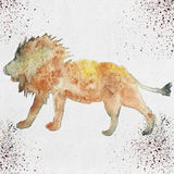 Watercolor illustration of a lion silhouette Royalty Free Stock Photo