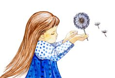 Watercolor illustration of a little girl with a dandelion in her hand. Isolated on white background stock illustration